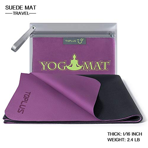 TOPLUS 1/16 Inch Travel Yoga Mat, Foldable Thin Hot Yoga Mat