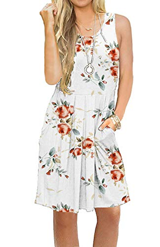 AUSELILY Women's Summer Floral Print Pocktes Pleated Casual Swing Tshirt Dress Knee Length Rose White XL