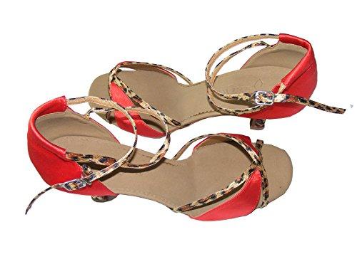 Pobofashion Moderne Damentanzschuhe mit Tigermuster für lateinamerikanische Tänze rotes+Tigermuster