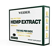 Weider Full Spectrum C02 Extracted 750MG / 30 Softgels (25 MG) Hemp Oil Extract Softgels