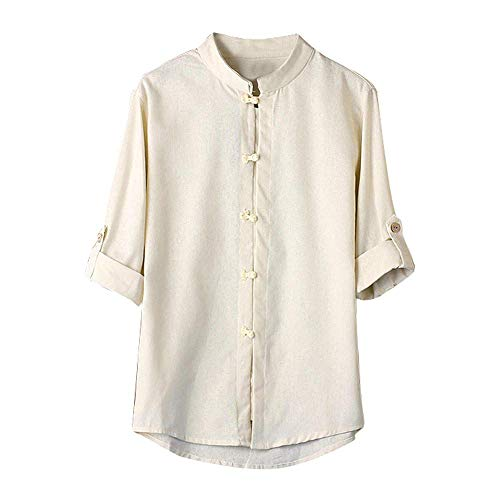 (Mens T Shirts Men Classic Chinese Style Kung Fu Button Down Shirts Tops Tang Suit 3/4 Sleeve Linen Casual Dress Shirt (White, XL))