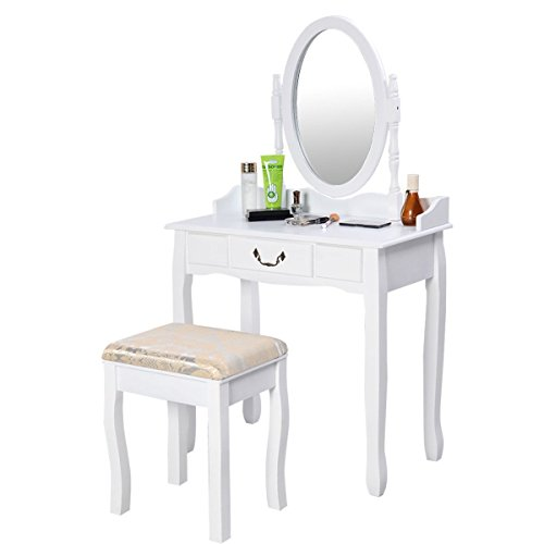 Cheap  MRT SUPPLY White Vanity Makeup Dressing Table with Rotating Mirror with Ebook