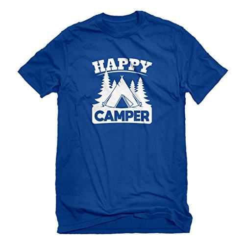 Mens Happy Camper Small Royal Blue T-Shirt -