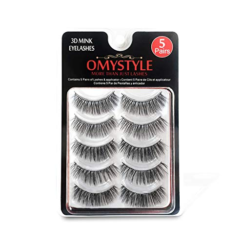 Beauty : 3D Fur Mink Eyelashes Natural Long Make up Messy Flirty Fake Lashes Curly Lightweight False Eyelashes for Women 5 Pairs/Box