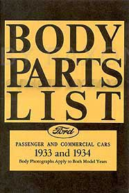 1933-1934 Ford Reprint Body Parts List: Car, Pickup, & Truck