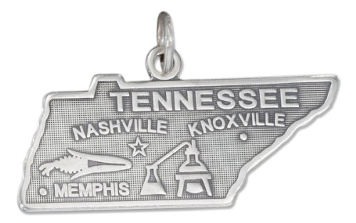 Sterling Silver Tennessee State Charm - Sterling Silver Antiqued Tennessee State Charm