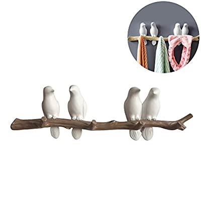 Evibooin Decor Wall Mounted Coat Rack | Birds On Tree Branch Hanger | for Coats, Hats, Keys, Towels, Clothes Storage Hanger (4 Hooks) - Material: High-quality eco-friendly tree resin. This wall decor is water proof and anti-corrosion. The unique tree wall mounted towel rack is Designed to hold up to a maximum weight of 11lb. Sturdy enough to hold towels, robes, hats or jackets. Great at the front door for jackets, scarves. This coat rack wall mounted is a perfect catch for all. Decoration purpose: A small delightful decorative storage hangers/tree wall decor is suitable for your home, dinning room, kitchen, patio, restaurant, store, coffee shop, workplace etc... - entryway-furniture-decor, entryway-laundry-room, coat-racks - 41t1VCYr9gL. SS400  -