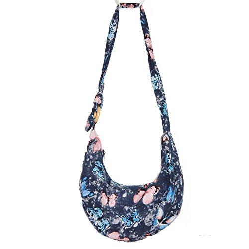 KARRESLY Large Bohemian Hippie Handmade Color Cotton Cloth Sling Crossbody Messenger Shoulder Bag with Adjustable Strap(18-1249)
