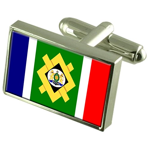 Johannesburg City South Africa Sterling Silver Flag Cufflinks Engraved Box by Select Gifts