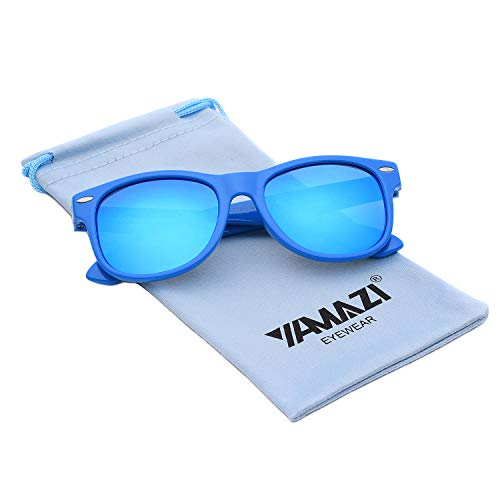 YAMAZI Kids Polarized Sunglasses Sports Fashion For Boys Girls Toddler Baby And Children (Blue | Blue Mirrored ()