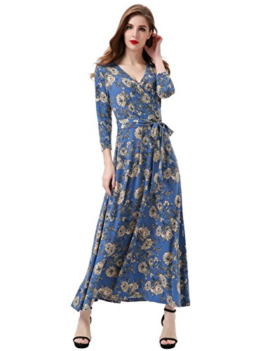 2fcd0c3e3e6053 Aphratti Women s 3 4 Sleeve Vintage Wrap Long Maxi Dress with Belt Medium  Blue