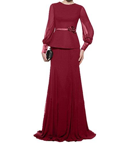 Dunkel Partykleider Damen Charmant Langarm Etuikleider Chiffon Rot Brautmutterkleider Abendkleider Ballkleider Festlichkleider UxZqpOw