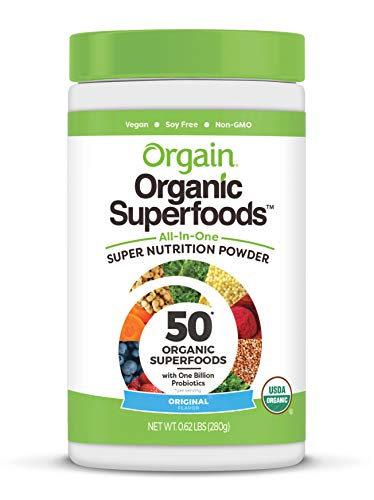Orgain Organic Green Superfoods Powder Original  Antioxidants 1 Billion Probiotics Vegan Dairy Free Gluten Free Kosher NonGMO 062 Pound Packaging May Vary