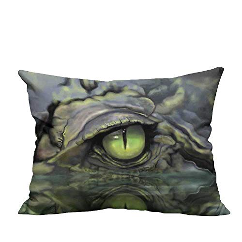 RuppertTextile Simple Pillowcase Wild Scary Sketch Eye and Face Image of Crocodile in Water at Night Hunter Illustration CushionW17 x L17 ()