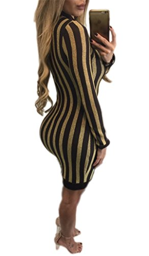 Allonly Femmes Sexy Strip Or Manches Longues Moulante Mini Robe De Couleur De Vêtements
