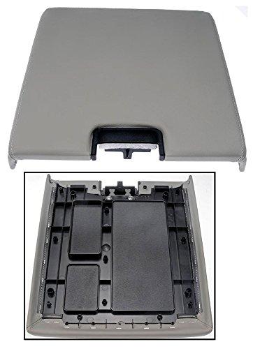 APDTY 035947 Center Console Lid Assembly w/Latch Fits 2007-2013 Cadillac Escalade Chevrolet Silverado Suburban Tahoe GMC Sierra Yukon (Gray Vinyl; Replaces 20864154)