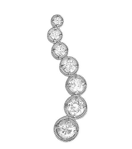 Elegant 14k White Gold 7-Stone Diamond Journey Wave Pendant -