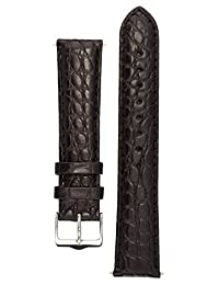 Signature Desire in black 22 mm watch band. Replacement watch strap. Genuine Alligator Leather. Silver buckle