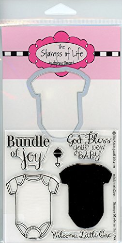 Baby Scrapbooking Shower Cards - Baby Onesie Stamp and Die Combo Pack for Scrapbooking and Card-Making by The Stamps of Life - MiniOnesie2Cute