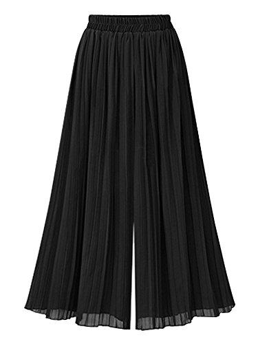 Wide Leg Pleated Trousers - Mesinsefra Women's Elastic Waist Chiffon Palazzo Pants Loose Pleated Wide Leg Pants Capris Trousers Tag XL-US 2 Black