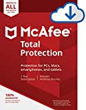 McAfee Total Protection|Antivirus| Internet Security| Unlimited Devices| 1 Year Subscription| PC/Mac Download|2019 Ready