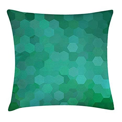 FPDecor Jade Green Funda de Almohada, Hexagonal Mosaic ...