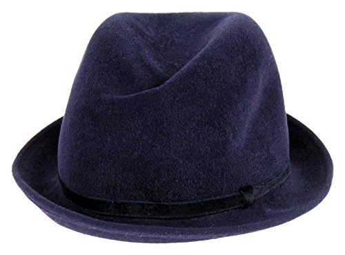 Patricia Underwood For J Crew Felted Fedora One Size Navy W/ Blue Ribbon by Panama Hat for J Crew