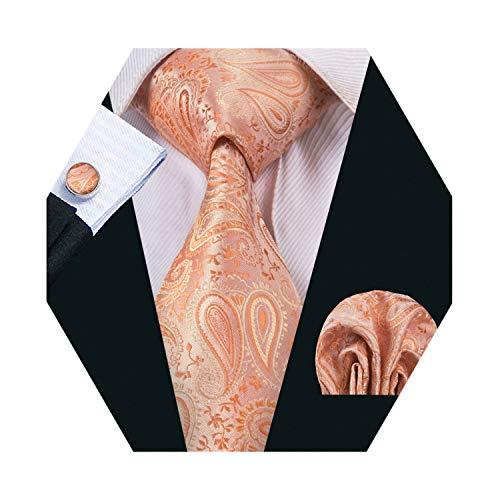 Barry.Wang Orange Tie Men Silk Paisley Tie Pocket Square Cufflinks Necktie Set