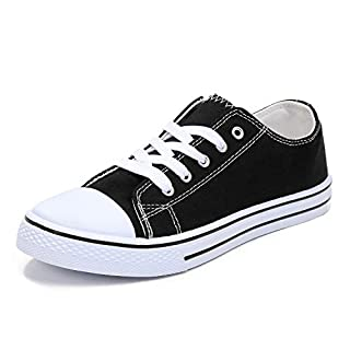 mysoft Womens Canvas Sneakers Lace-up Low Top Casual Walking Shoes Black