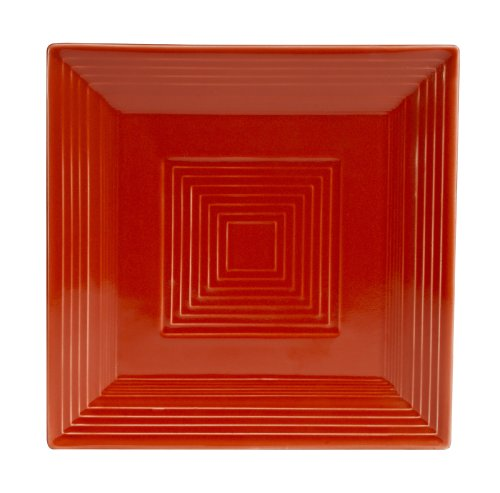 - CAC China TG-SQ16R Tango Red Porcelain Square Plate, 10-Inch, Box of 12