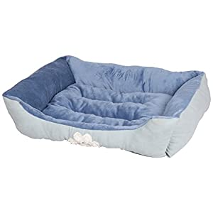 HappyCare Textiles Reversible Rectangle Pet Bed with Dog Paw Printing, Blue