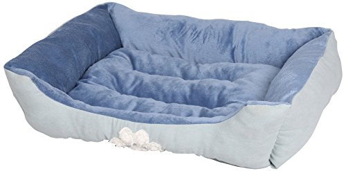 Blue Dog Bed - HappyCare Textiles Reversible Rectangle Pet Bed with Dog Paw Printing M size, Blue