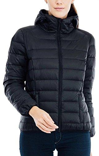 Valuker Damen Daunenjacke mit 90% Daunen Jacke Mit Kapuze Winter Jacke Ultra leicht(DE:38 / EU:M / US:S Schwarz)