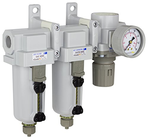 PneumaticPlus SAU430-N04G-MEP Three Stage Air Drying System Particulate Air Filter, Coalescing Filter, Air Pressure Regulator Combo 1/2' NPT - Metal Bowl, Manual Drain, Bracket, Gauge
