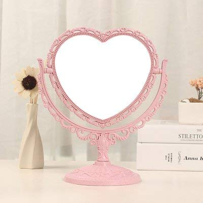 XPXKJ 7-Inch Tabletop Vanity Makeup Mirror with 3X Magnification, Two Sided ABS Decorative Framed European for Bathroom Bedroom Dressing Mirror (Pink Heart-Shaped) ()