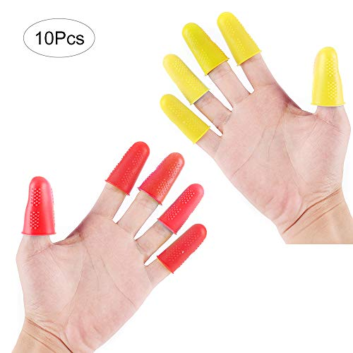 Silicone Finger Protectors - Fomei 10 Pieces Hot Glue Gun Finger Caps, Non-Stick Covers for Hot Glue Wax Resin Honey Adhesives Scrapbooking Sewing in Small / Medium / Large Sizes (Yellow and Red)
