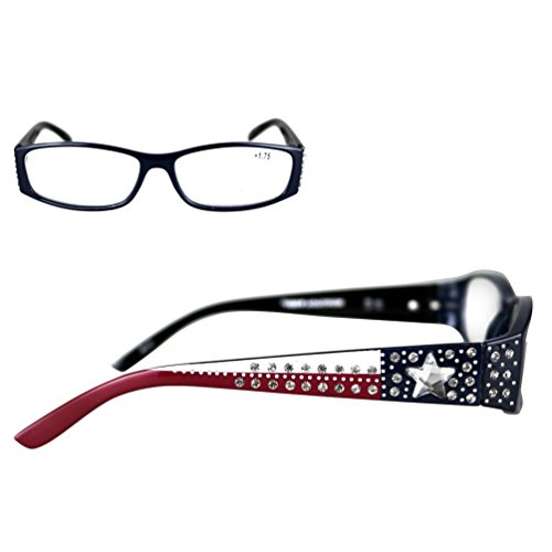 Montana West Reading Glasses Texas Pride Lone Star Flag Western Rhinestones Navy, - Wholesale Reading Glasses Sunglasses
