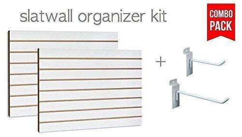(White Slatwall Panels Organizer Kit - Includes (2) - 24