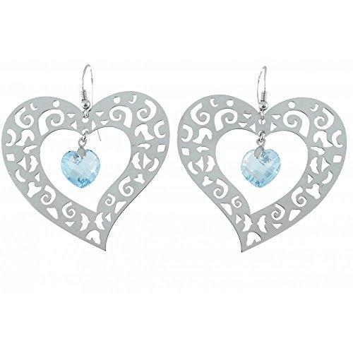 Boucles d'oreilles en Topaze bleue PU BO130/79 - Bijoux en argent rhodié et Topaze bleue - Diverses pierres possible - ARTIPOL