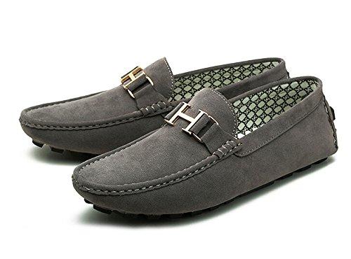 Happyshop (tm) Para Hombre De Cuero Slip-on Informal Hebilla Mocasín De Conducción Para Hombre Zapatos De Coche Mocasines Zapatillas Gris (hebilla)