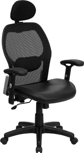High Back Super Mesh Office Chair with Black Italian Leather Seat [LF-W42B-L-HR-GG]