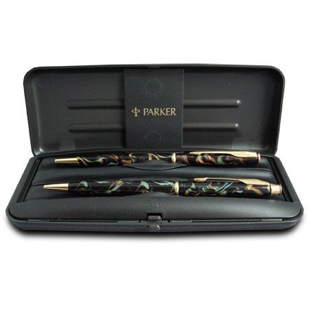 Parker Insignia Laque Green Bronze Ball Pen/Pencil Set