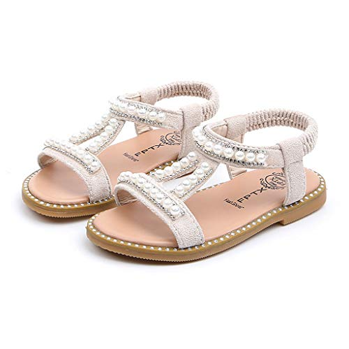 Todaies Toddler Infant Kids Sandals,Baby Girls Pearl Crystal Single Roman Shoes (26, Beige) ()