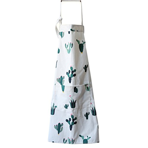 Fieans Adjustable Apron with Convenient Front Pocket Men and Women Fashion Bib Apron for Kitchen Cooking Restaurant Garden BBQ - Green Cactus (Convenient Front Pocket)