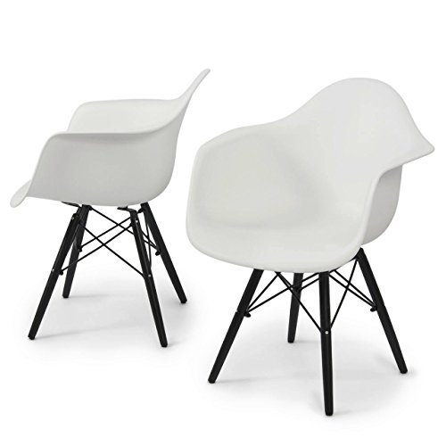 Modern Dining Chair Molded ABS Plastic Dowel Black Wooden Legs Posture Support Backrest Design Innovative Side Chair - Set of 2 White #1443 by Koonlert@Shop