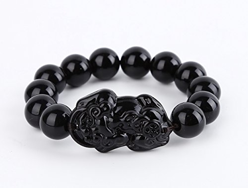Obsidian Feng Shui Wealth Porsperity Bracelet 12mm Bead with Pi Xiu / Pi Yao, Attract Wealth and Good Luck, Deluxe Gift Box Included