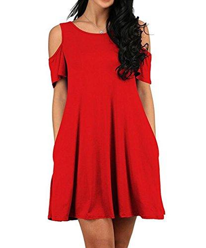 Donna Casuali Size Tasche T Spalla Vestito Sundresses Tunica Gabrebi Top Con Da Rosse Sexy Scampanato Abiti Fredda Plus shirt gdwWnxqfPX