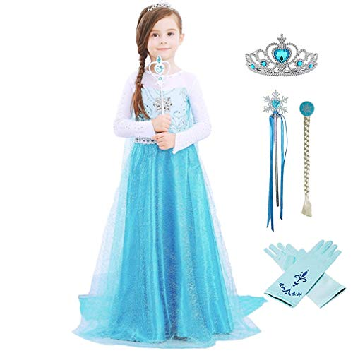 Domiray Little Girls Elsa Princess Dress Costume]()