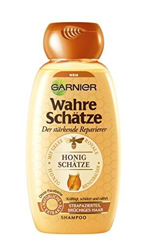 GARNIER Wahre Schätze Shampoo / Intensive Haarpflege bis in die Spitzen / Schützt die Haarfarbe (mit Gelée Royale, Bienenbalsam & Honig - für strapaziertes, brüchiges Haar - ohne Parabene) 1 x 250ml