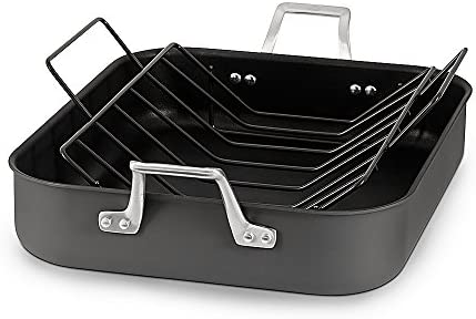 Calphalon 1948255 Signature Hard Anodized Nonstick Roaster Pan with Rack, 16 , Black
